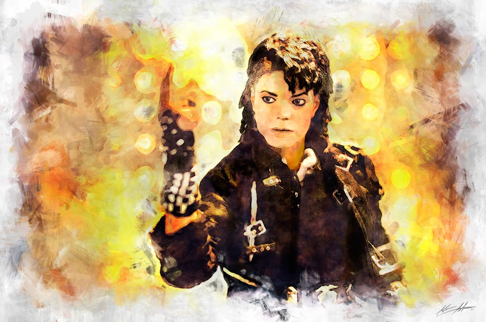 "I was too young and poor to go any of his concerts during his ""bad"" album era. So I posed my MJ figurine and started digitally painting. My imagination helped create this as if I was at his concert sitting front row and center as he stuck his pose and is about to start his dance, but he is waiting for everyone to stop cheering, crying, and fainting including myself."