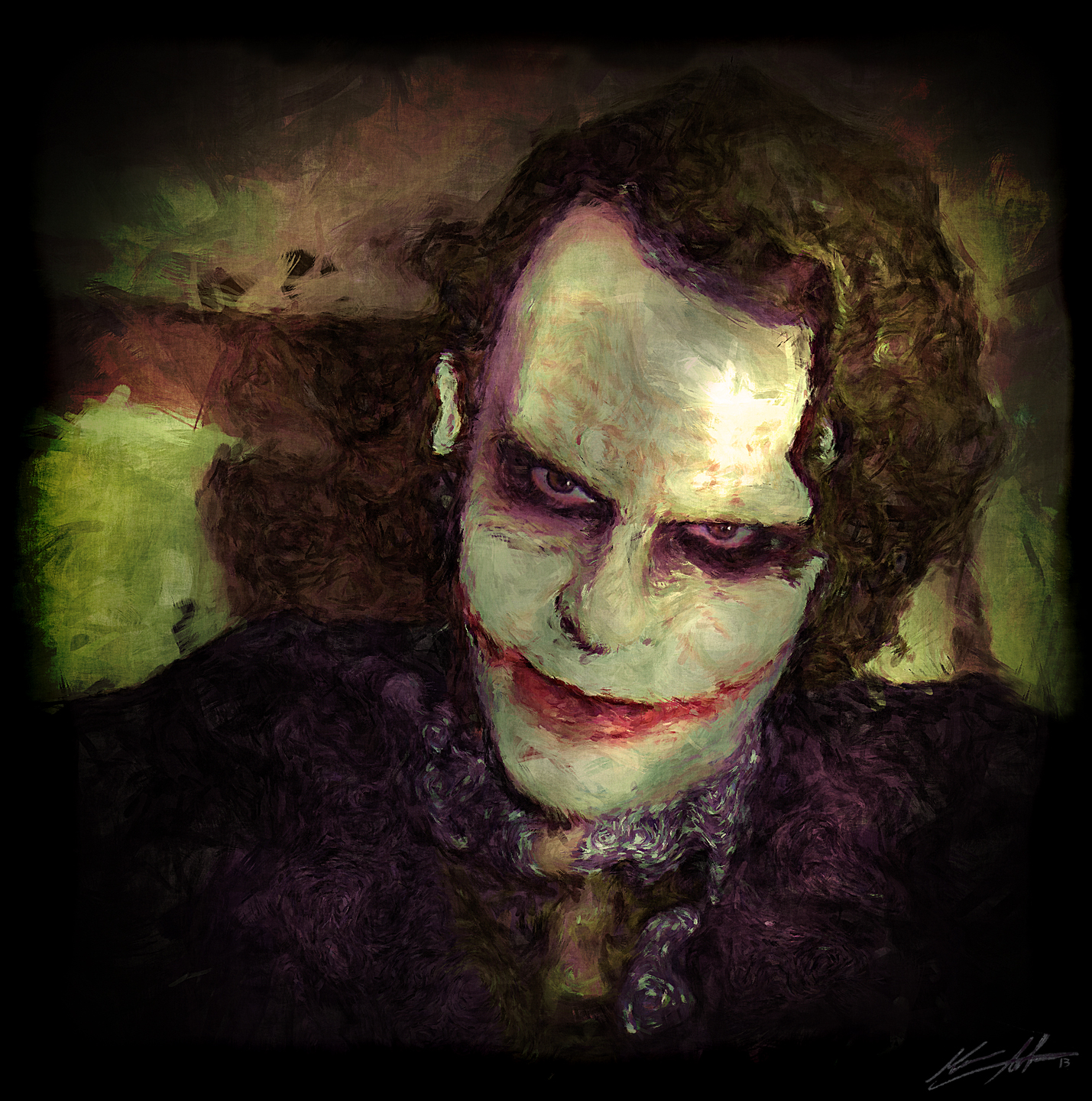 Here is my second Heath Joker digital painting. this was done with photoshop from scratch looking at a hot toy figurine while painting with my big ass tablet. It's taking me less time as learn to use the tablet better. Faces are easier for me than the whole body I guess cause I don't have to mess with that crazy pattern shirt like on my 1st one. I promised Mary I would do something less morbid and dark on my next one cause these are looking very dark and gloomy. I also put more detail and pain in his eyes. I am liking the portraits more because it's faster and I can show more detail. Hope you like it.